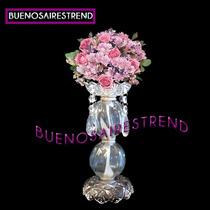 Pie De Topiario Porta Bouquet Vidrio Arreglo Floral Eventos