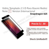 Vidrio Templado Redmi Note 4 Version Internacional 2.5d