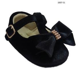 Sapatilha Sapato Bebe Preto Veludo Menina Mimo Baby 1007-51