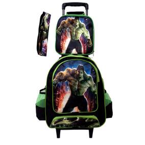 Kit Mochila Escolar Infantil Hulk Com Lancheira E Estojo