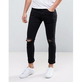 Pantalones De Hombre Negro Strech Con Rotos