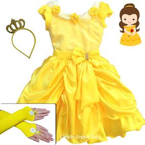 Vestido Festa Infantil Luxo A Bela E A Fera Com Luva E Coroa