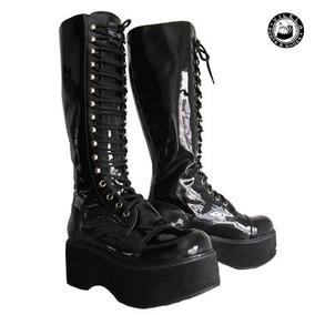 a770ba1fae908 Bota Roxa Vilela Boots N° 38 Plataforma Couro Fivela Nova - Sapatos ...