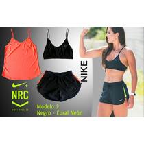 Conjunto Deportivo Nike Top Sosten + Short + Blusa