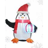 Figura Navideña Inflable Pingüino Con Regalo 80 Cm