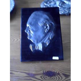 Antigua Imagen En Metal Sobre Mármol Negro