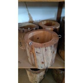 5 Vasos Madeira Rústico Tronco Orquídea Decoração Demolição