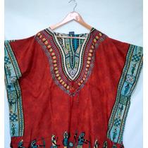 Kaftan Indiana Curta Estampada Vestido Etnico Super Oferta