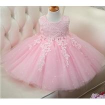 Vestido Infantil Festa Dama Casamento Batizado Renda Rosa