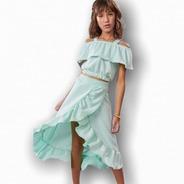 Conjunto Saia Cropped Ciganinha Teen Juvenil Blogueira Moda