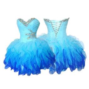 Vestido De 15 Años Gasa Azul