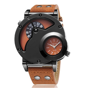 Reloj Hombre Miler Analógico Modelo Militar Doble Dial Azul