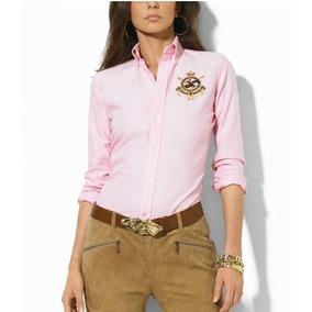 Fabulosa Blusa Camisa Dama Mujer Polo Ralph Lauren Logo Rosa