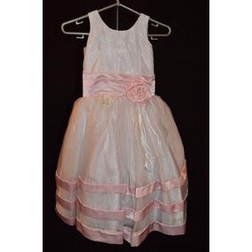 Vestido De Daminha - Organdi - Branco / Rosa