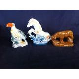 Lote Conjunto Coleção Escultura Porcelana Tucano Cavalo Boi