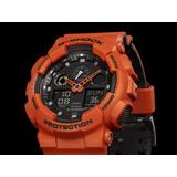 Reloj Casio G Shock Ga100l-4aer Tendencia New Naranja Nuevo