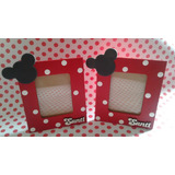 Portarretratos Mickey Minnie Con Nombre En Fibrofacil X 10u