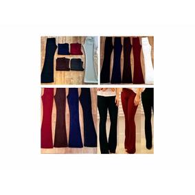 Calca Legging Flare Leg Texturada Cintura Alta Fem Kit 2 Un