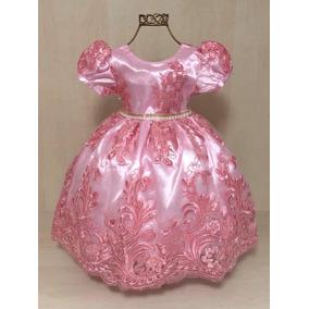 Vestido Infantil Festa Luxo Princesa Realeza Pink Tama 1 2 3