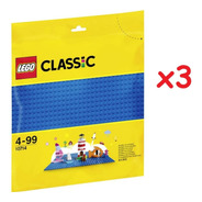 Kit Com 3 Bases Lego Azul - Lego Classic 10714