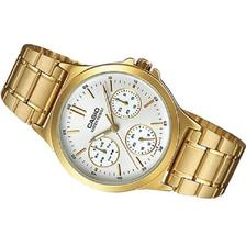 Reloj Casio Dama Ltp-v300g Dorado Acero  Multiaguja Original