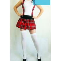 Sexy Disfraz De Colegiala Rojo Blanco Mini Falda Y Tirantes