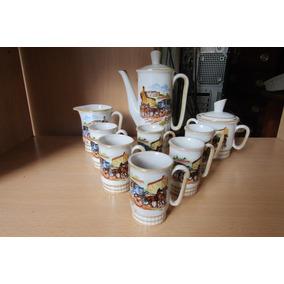 Juego De Cafe Retro Porcelana Motivo Carruaje 9 Piezas