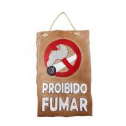 Placa Proibido Fumar Bege Em Resina