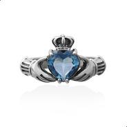 Anel Solitario Claddagh Topazio Azul Prata 925 Fp - 11053802