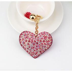 Llavero Corazón Dama Mujer Accesorio Bolsa Anillo Cristales