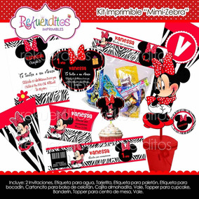 Kit Imprimible Mimi Minnie Mouse Zebra Rojo 2x1
