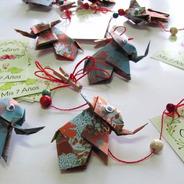 Souvenir Cumpleaños Origami Colgante Elefante + Tag Pers.