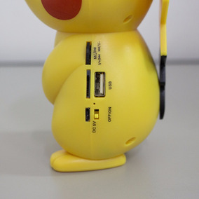 Caixa Som Led Bluetooth Pokemon Pikachu Mp3 Rádio Fm Sd Usb