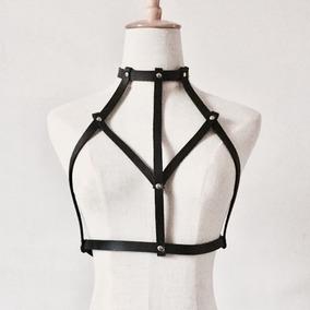 Harness Bra Tipo Cuero Arnes Crop Top Sexy Lenceria Moda