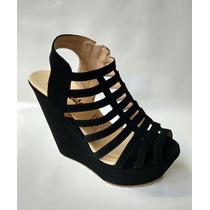Zapato Tacon Alto Corrido Plataforma Negros Envio Gratis