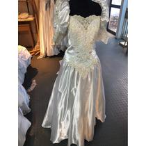 Vestido Con Estilo Antiguo De Novia Muy Bordado Encaje Blanc