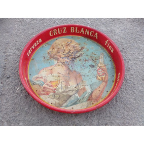 Antigüa Charola Cerveza Cruz Blanca Circa 40