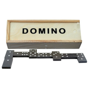 20 Dominos China Estuche 15 Cm Y Fichas 3.7 Cm De Madera