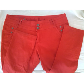 Pantalon Casual Para Damas Rojo Marca Salvaje Real