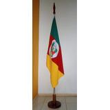Bandeira Rio Grande Sul Poliéster 90x129cm C/ Base E Mastro