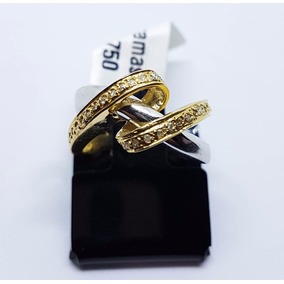 Anel De Ouro 18k Amarelo Com Branco E Diamantes Verdadeiros