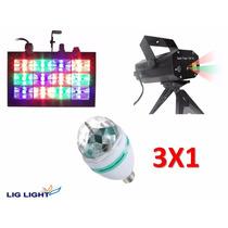 Kit Iluminação Festa Strobo Câmera Lenta Laser Bola Maluca