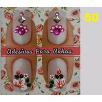 50 Cartelas Adesivo Artesanais Unha Jóias Pingentes + Brinde