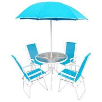 Jogo 4 Cadeiras C/ Mesa Ombrelone Leblon Praia Piscina