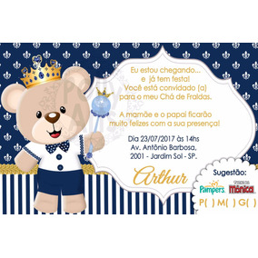 Arte Convite Chá De Bebe Fraldas Ursa Princesa Urso Príncipe