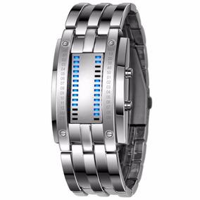 Reloj Binario A Prueba De Agua De Led Azul Silver