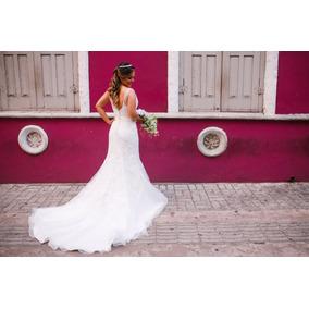 Vestido De Noiva Lindo + Tiara De Pérolas E Preço Acessível