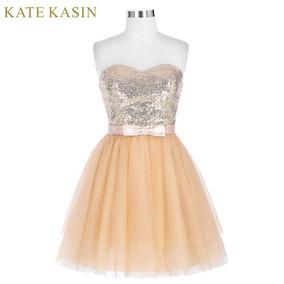 Vestido De Debutante Curto Dourado - Tamanho 34-36