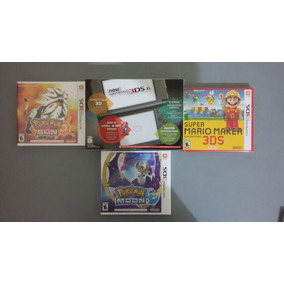 Nintendo 3ds Xl Preto + 3 Jogos Pokemon Sun Moon Mario Maker