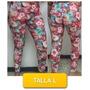 Pantalon Leggins Licras Estampado Flores Talla L Mor-09l